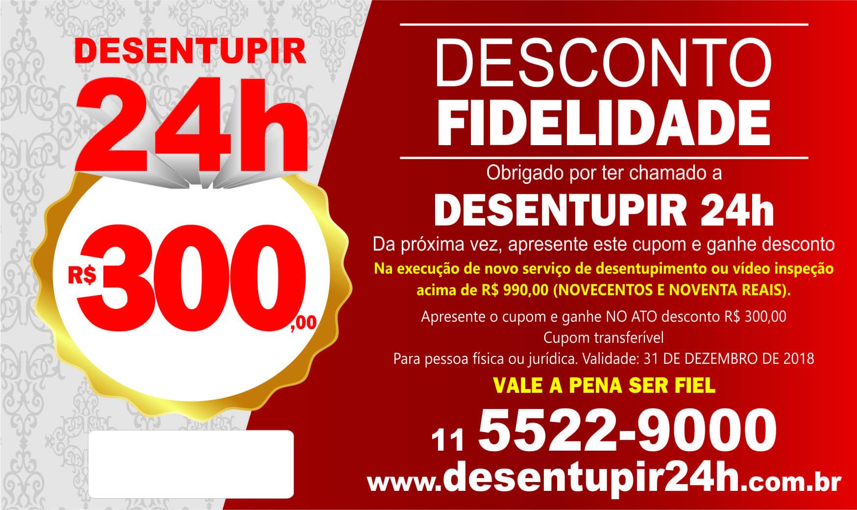 Desentupir 24h Cupom Desconto 2017